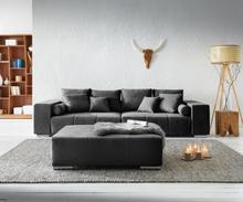 DELIFE XXL-bank Marbeya 285x115 cm zwart met hocker big-sofa