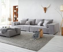 DELIFE XXL-bank Marbeya 285x115 cm grijs met Kruk XXL sofa