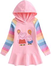 Peppa Pig Spring Autumn Girls Hoodies Children Christmas Dress Long Sleeve Coat Baby Costume Party Sweatshirts Clothing