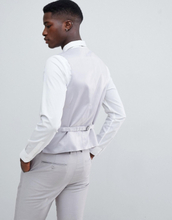French Connection Slim Fit Wedding Double Breasted Scoop Waistcoat-Stone