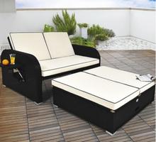 Kombinasjon av polyrotting sofa / solseng