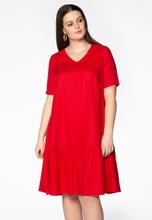Dress frilled bottom LINEN 42/44 (42/44) red (260)