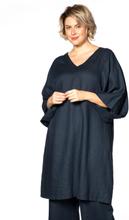 Dress double v-neck LINEN S (S) blue (230)