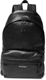 Explorer Arena Logo-print Creased-leather Backpack - Black