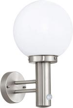 EGLO Utomhusvägglampa med sensor Nisia 60 W silver 27126