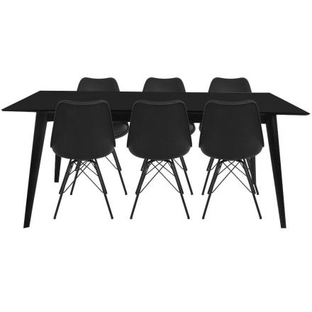 Essgruppe | Esstisch Ausziehbar Schwarz 195/285 mit 6 Stühlen - Nora (ab Kalenderwoche 27 lieferbar)