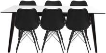 Essgruppe | Esstisch Ausziehbar Weiß 195/285 und 6 Stühlen Schwarz - Nora
