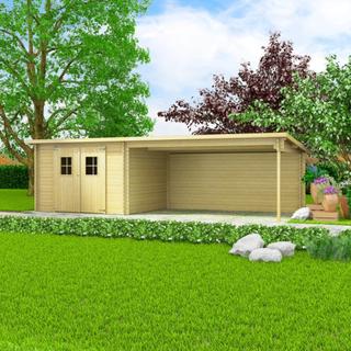 vidaXL bjælkehytte-haveskur massivt træ 28 mm 7,3 x 3 m