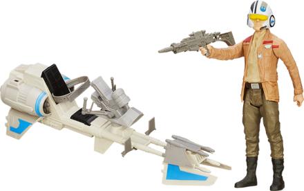 STAR WARS Episode VII Hero Series figur og fartøj, Poe Dameron & Speeder Bike - ToysRUs.dk