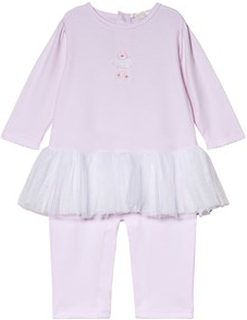 Kissy Kissy Pink Premier BalPink Premier Ballet Tulle and Embroidered One-Piece let Tulle and Embroidered Detail Footless Babygrow 6-9 months
