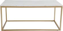 Accent soffbord 110 - Vit Marmor / Mässingsfärgat underrede