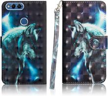 Huawei P smart beskyttelses deksel av syntetisk skinn med printet bilde - ulv