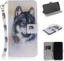 iPhone 9 Plus beskyttelses deksel av syntetisk skinn med printet mønster - ulve mønster