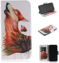 iPhone 9 beskyttelses deksel av syntetisk skinn med printet mønster - ulv