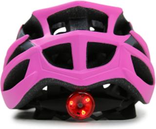 Cykelhjälm med LED-lyse - Rosa/grå