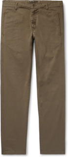 Slim-fit Tapered Garment-dyed Cotton-blend Twill Trousers - Mushroom