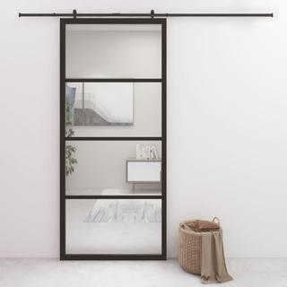 vidaXL Skyvedør aluminium og ESG-glass 90x205 cm svart