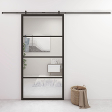 Skyvedør aluminium og ESG-glass 102,5x205 cm svart