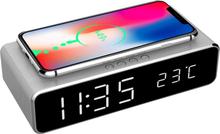 Gembird Digital Väckarklocka med Qi-laddning - Silver