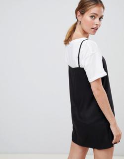 ASOS DESIGN Petite - Mini-slipkjole med camistropper og firkantet hals-Sort