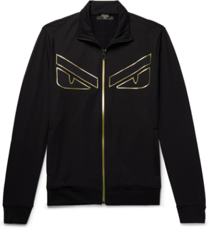 Appliquéd Fleece-back Jersey Zip-up Sweatshirt - Black