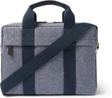 Leather-trimmed Canvas Briefcase - Blue