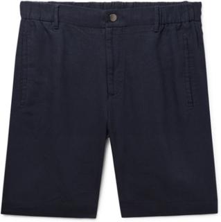 Slim-fit Linen Shorts - Midnight blue
