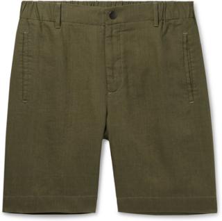 Slim-fit Linen Shorts - Green