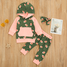 Baby-Blumendruck Langarm-Kapuzen-Bekleidungsset für 6-24M