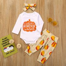 3PCs Baby Pumpkin Print Langarm-Freizeitkleidungsset für 6-24M