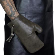 Læder grill handske - vintage grå