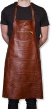 Læder forklæde - kroko brun