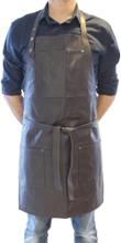 Læder forklædemørk brun