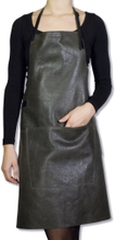 Læder forklæde bbq - vintage grey