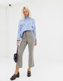 Miss Selfridge kickflare crop trousers in check-Brown