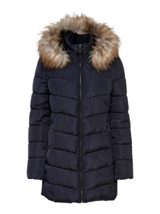 ONLY Long Quilted Jacket Women Blue