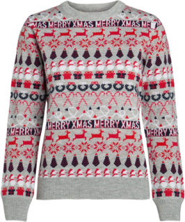 PIECES Long Sleeved Christmas Pullover Kvinna White