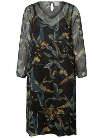 JUNAROSE Flower Printed Midi Dress Women Black