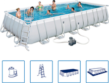Bestway Rektangulär pool med stålram Power Steel 732x366x132 cm 56474
