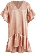 VILA Ruffle V-neck Party Dress Kvinna Rosa