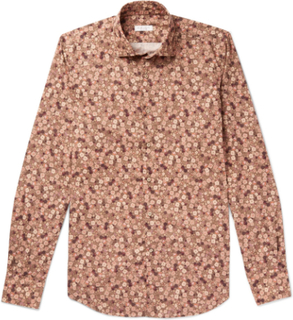 Slim-fit Floral-print Cotton Shirt - Brown