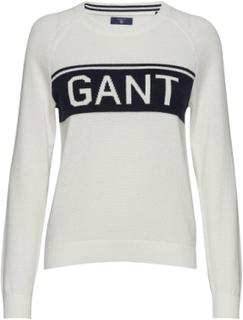 O1. Cotton Gant Logo Crew Strik Hvid GANT