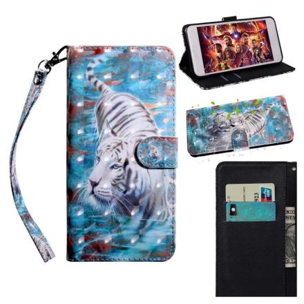 Huawei P Smart 2019 light spot décor leather flip case - Tiger