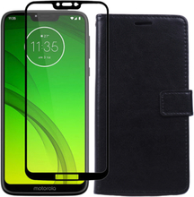 Motorola Moto G7 Power XT1955 4GB/64GB Dual sim ohne SIM-Lock mit gehärtetes Glas Displayschutzfolien und Klappetui (Schwarz) - Ceramic Schwarz
