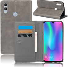 Crazy Horse Huawei P Smart 2019 leather flip case - Grey