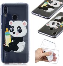 Huawei P Smart 2019 Etui Med Mønster - Panda Som Holder En Flaske