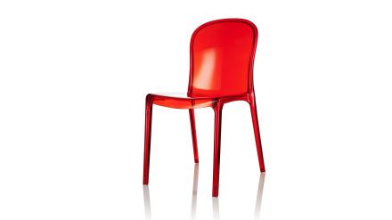 Labradoren - Stol i polykarbonat - Transparent röd