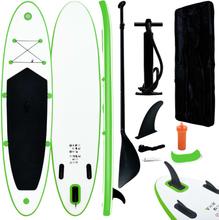 vidaXL Oppblåsbart padlebrettsett grønn og hvit