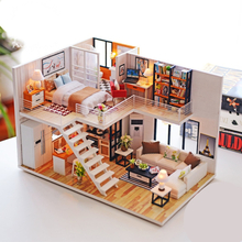 CUTEBEE DIY Doll House Wooden Doll Houses Miniature Dollhouse Furniture Kit with LED Toys for Children Christmas Birthday Gift