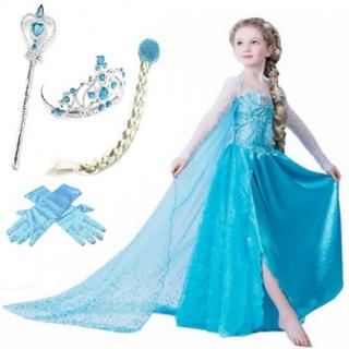 Frost frozen elsa princess klänning + tiara/fläta/spö